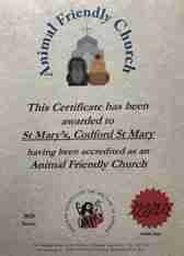 168x234 Animal Friendly Church Certificate